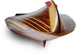 wood Baidarka kayak stern detail