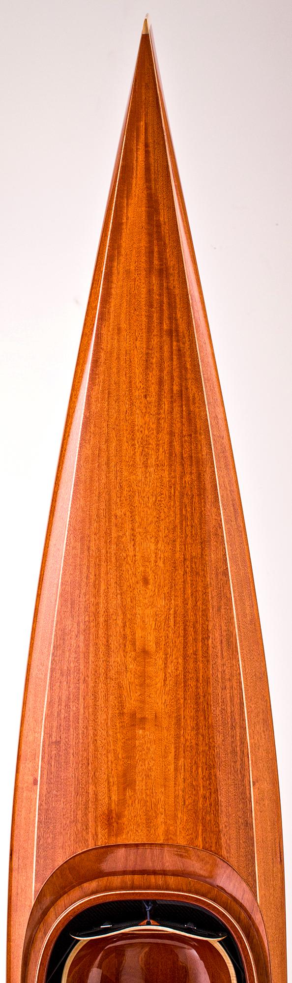 Back deck of Mahogany Wood Kayak