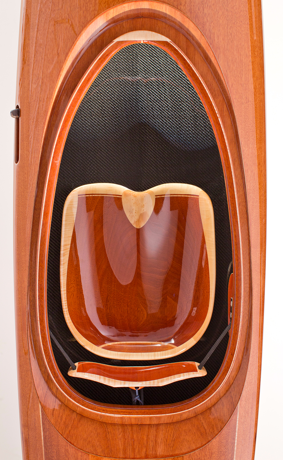 mahogany wood and carbon fiber kayak with carved wooden seat