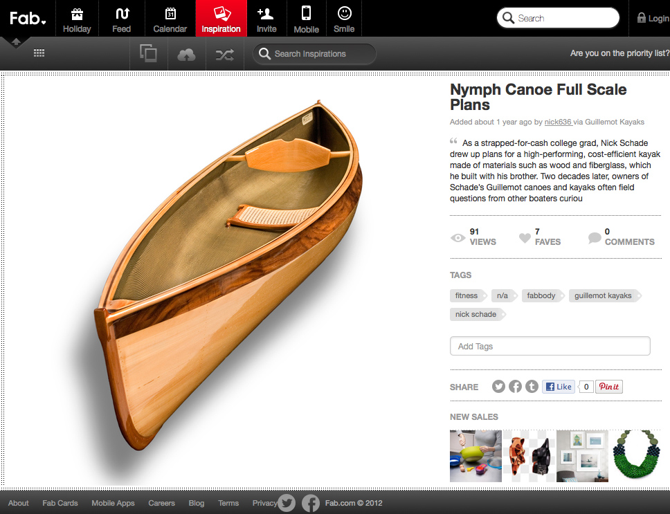 Bespoke Canoe in Fab.com September 2011