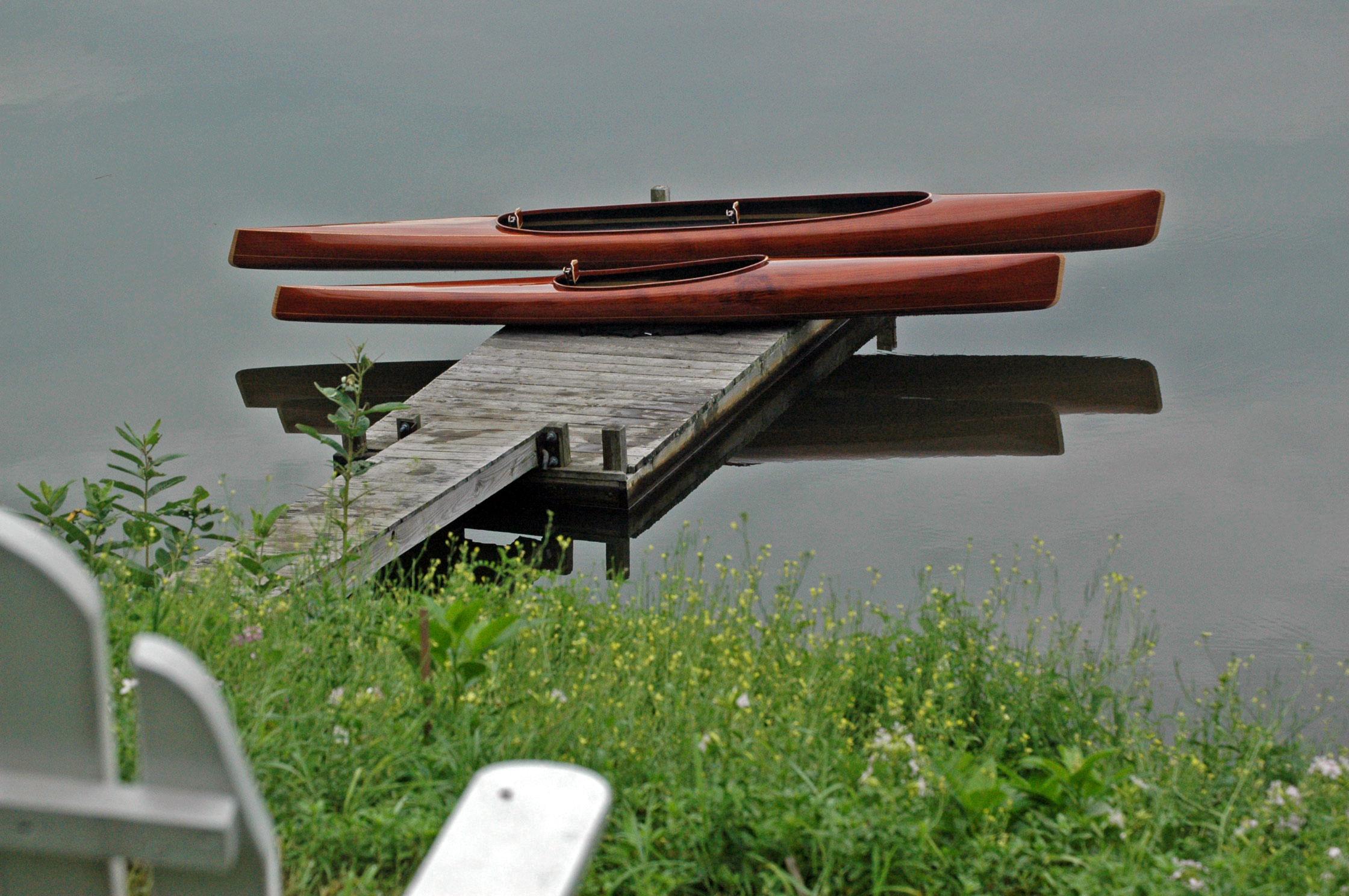 Solo and Tandem microBootlegger Mahogany Wooden Kayaks