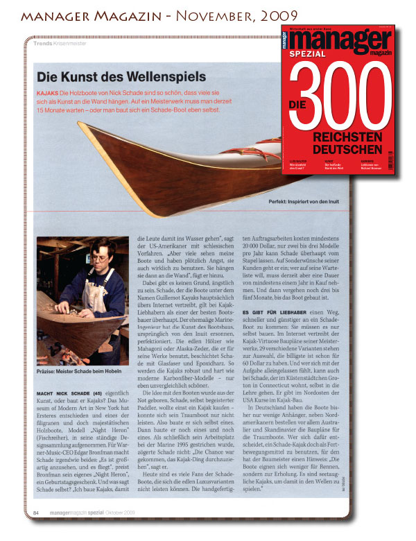 Guillemot kayaks in Manager Magazin