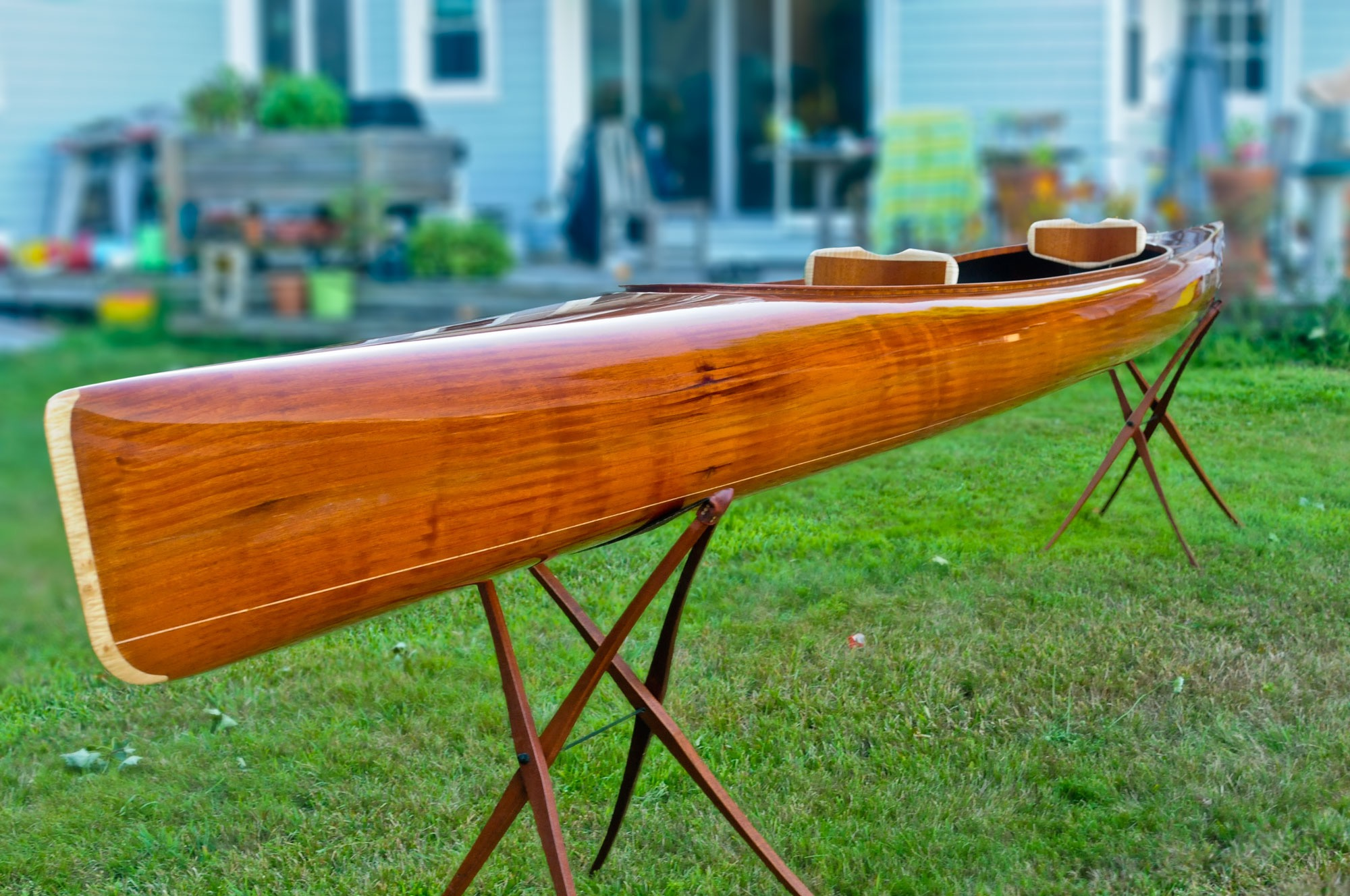 Mahogany Wood and Carbon Fiber Tandem Kayak