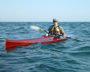 wood strip racing kayak