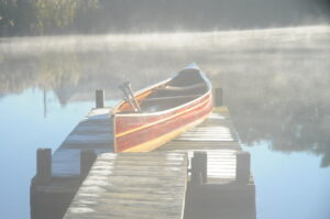 Cedar Strip Tandem Canoe in the Mist