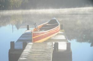 Cedar Strip Tandem Canoe in the Mist