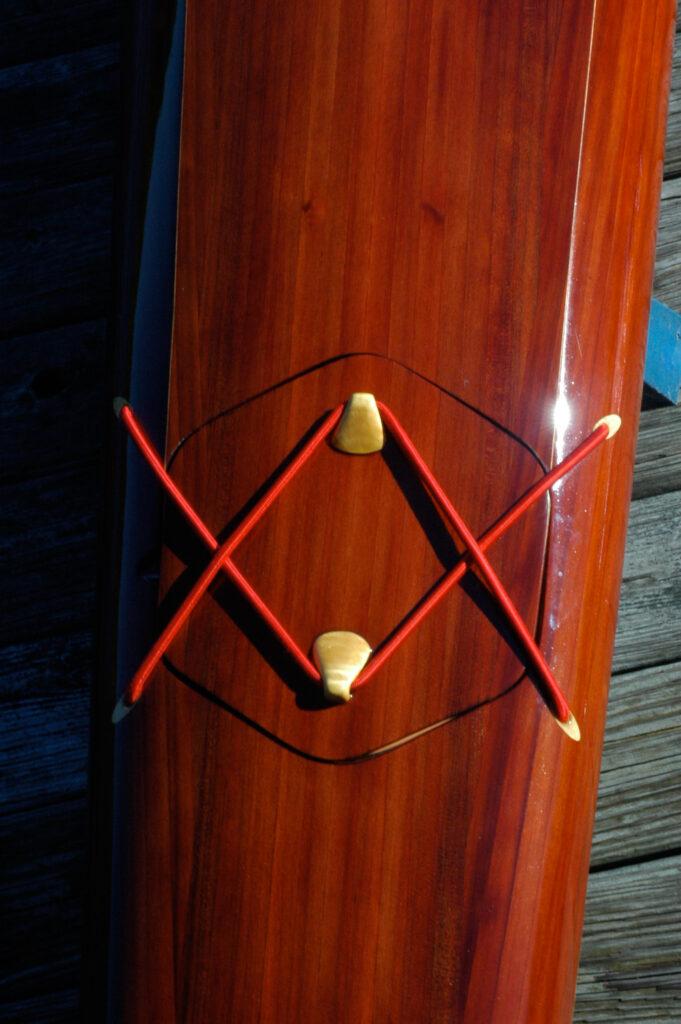Hatch detail in Wooden Sea Kayak