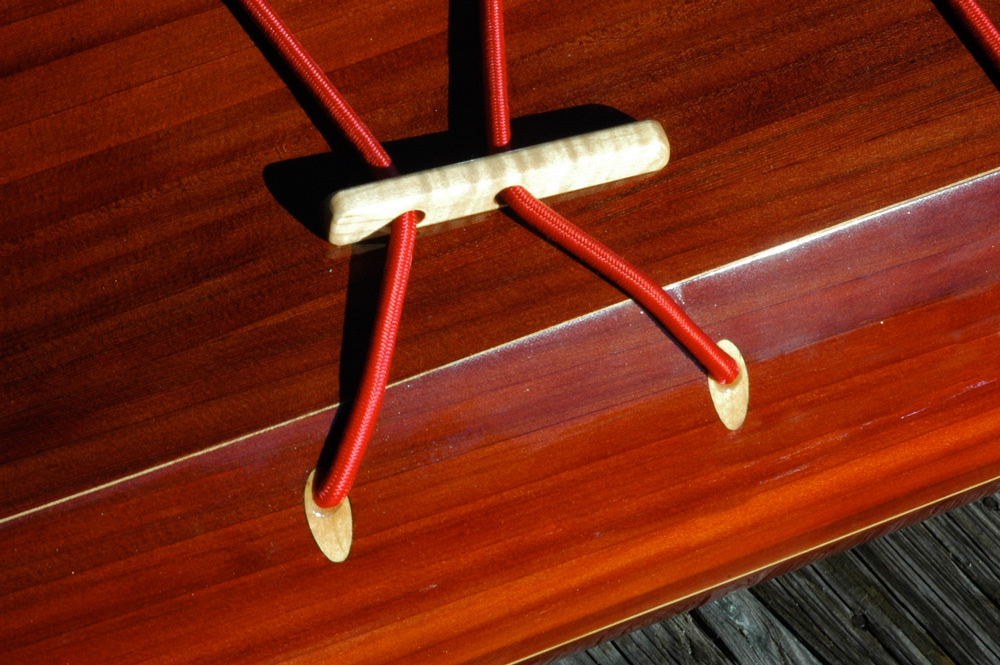 flush deck fittings on wooden sea kayak Petrel