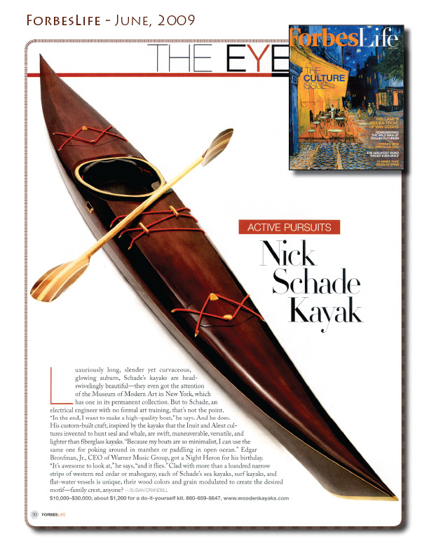 Wooden Kayaks in Forbes Life - June 2009
