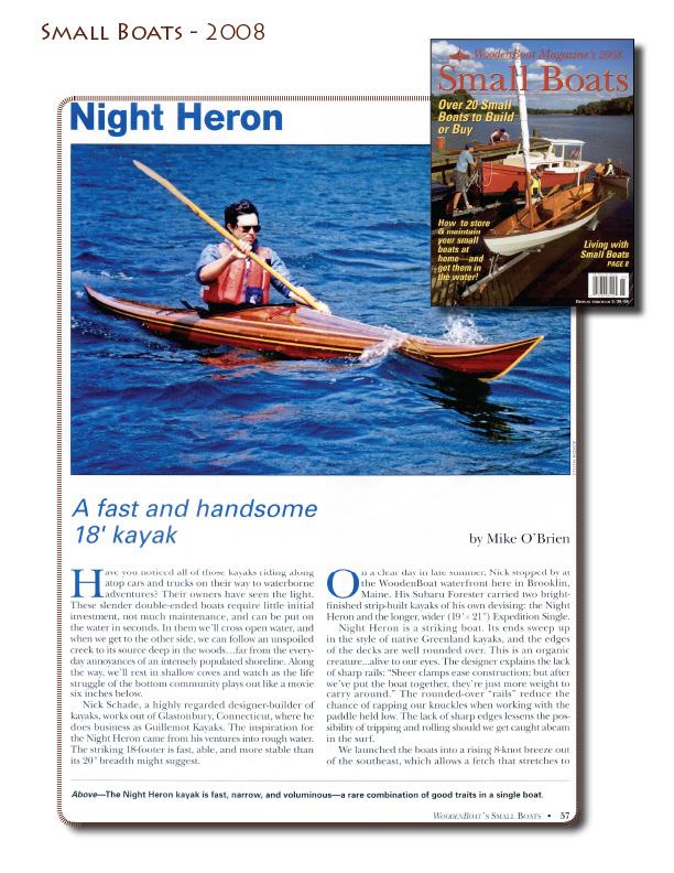 Night Heron Wood Kayak in Small Boats Magazine