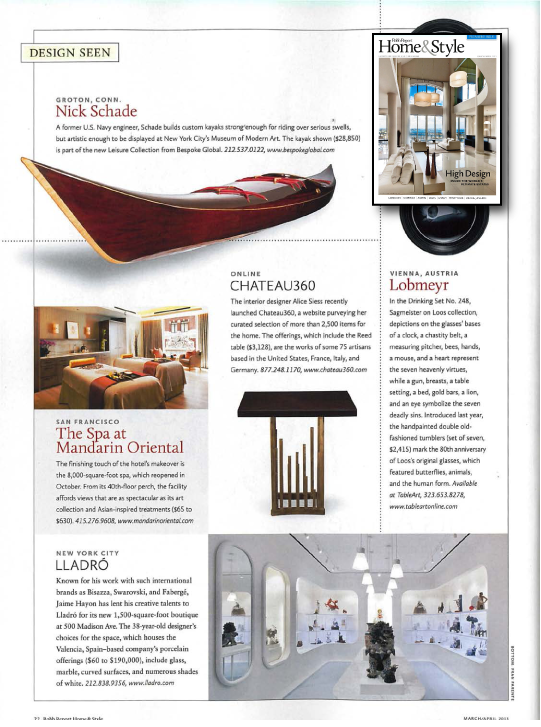 Nick Schade in Robb Report H&S Mar 2013