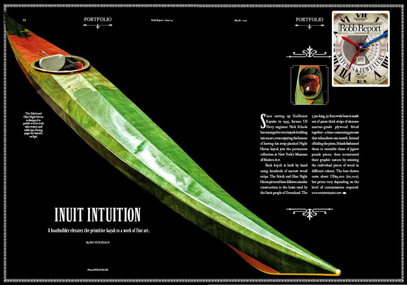 Wooden Kayak in Robb Report Singapore Mar '13