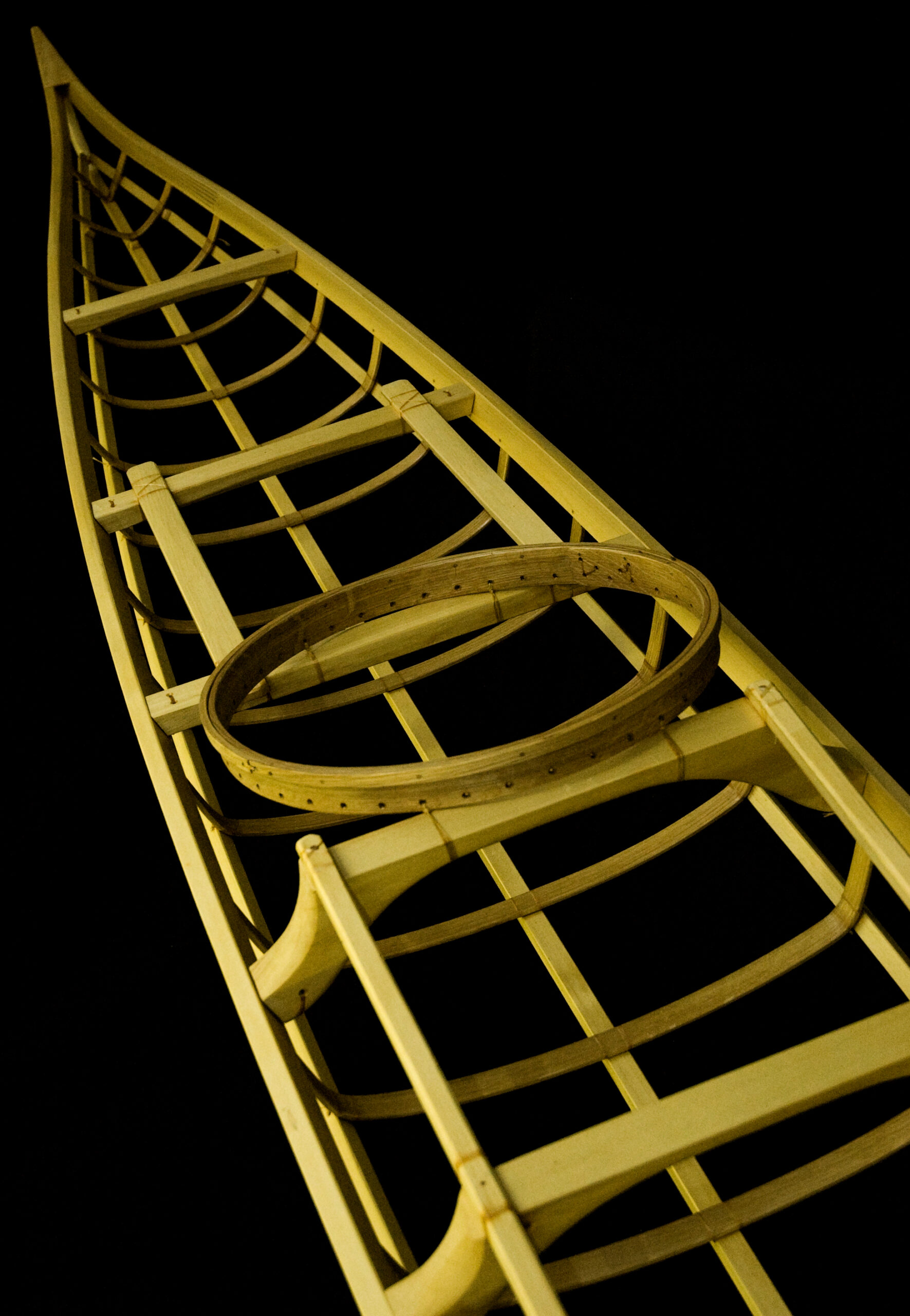 Alaskan Yellow Cedar Wooden Kayak frame by Nick Schade