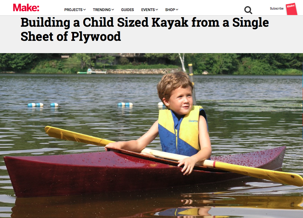 Childs Kayak in Make Magazine 2016