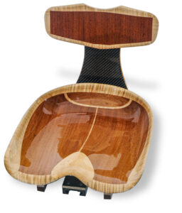 Carved mahogany and maple wood with Carbon Fiber Kayak Seat by Nick Schade