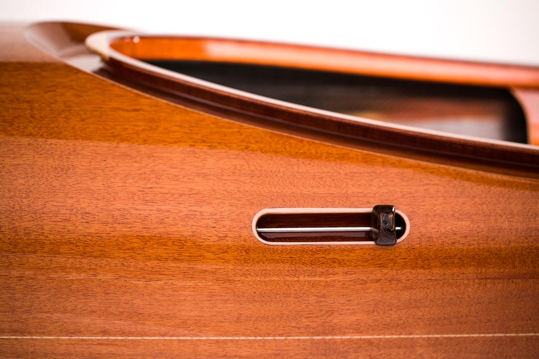 Detail of skeg control on wood kayak