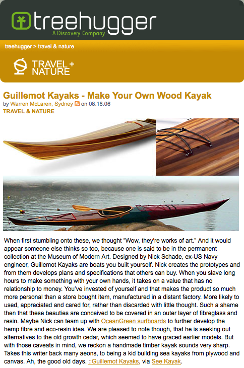 Wood Kayak in TreeHugger.com - Aug 2006