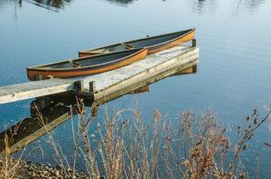 Two western red cedar pack canoes