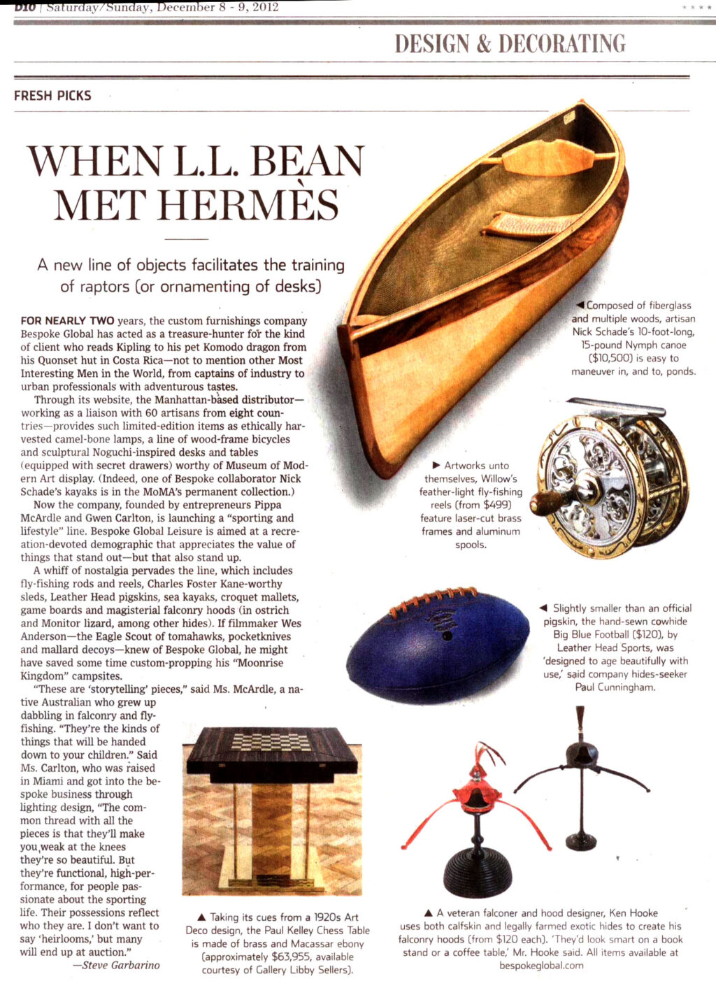 Bespoke Kayaks in Wall Street Journal