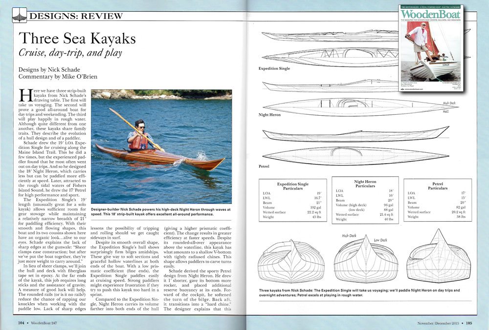 Guillemot Kayaks in WoodenBoat November 2015